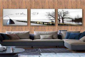 Thiết kế giả gỗ kết hợp tranh tường