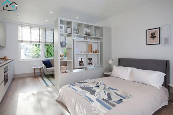 Phòng ngủ kết hợp vách ngăn phòng khách