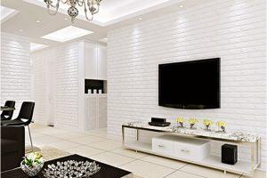 Thiết kế xốp dán tường giả gạch màu trắng trang nhã
