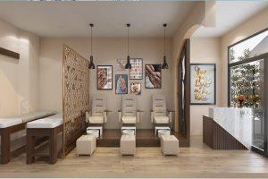 Cách trang trí tiệm nail và spa kết hợp sử dụng vách ngăn gỗ tối giản