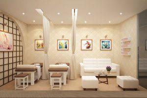 Phong cách thiết kế tiệm nail và spa kết hợp rèm ngăn chia riêng biệt