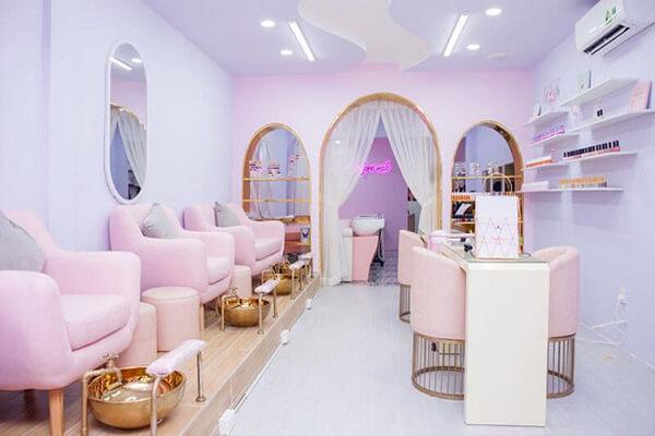 Phong cách thiết kế tiệm nail và spa thể hiện sự nhẹ nhàng